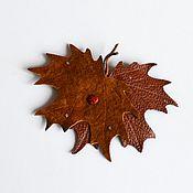 Украшения handmade. Livemaster - original item brooch maple leaves leather. Handmade.