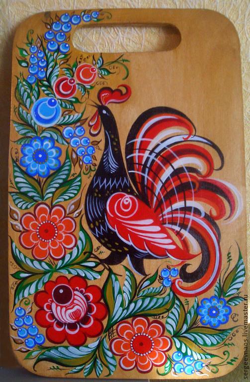 Быт ручной работы. Ярмарка Мастеров - ручная работа. Купить Досочка, роспись. Handmade. Городецкая роспись, петушок, цветы