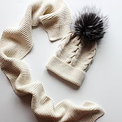 Работы для детей, ручной работы. Ярмарка Мастеров - ручная работа Комплект: зимняя шапка и шарф. Handmade.