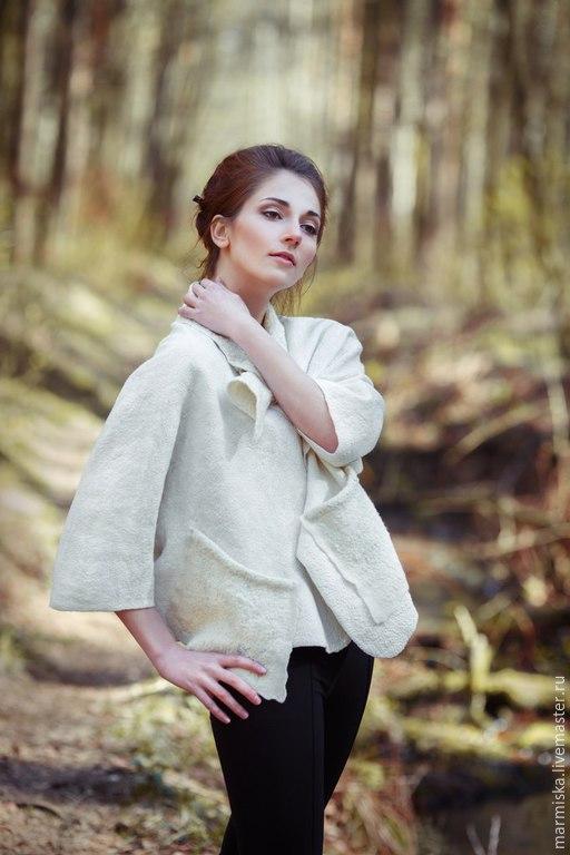 Пиджаки, жакеты ручной работы. Ярмарка Мастеров - ручная работа. Купить Валяный жакет Дыхание весны. Handmade. Белый