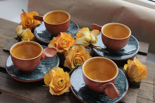 Кружки и чашки ручной работы. Ярмарка Мастеров - ручная работа. Купить Кофейный набор Морской изумруд. Handmade. Комбинированный, Керамика