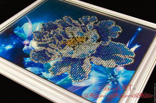 """Картины цветов ручной работы. Ярмарка Мастеров - ручная работа. Купить Картина """"Пион"""". Handmade. Синий, картина с цветами"""