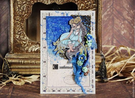 """Открытки на день рождения ручной работы. Ярмарка Мастеров - ручная работа. Купить Открытка """"Фея"""". Handmade. Синий, романтичный, акварель"""