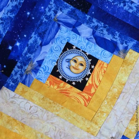 """Текстиль, ковры ручной работы. Ярмарка Мастеров - ручная работа. Купить """"Красно солнце, месяц ясный"""" лоскутный плед. Handmade."""