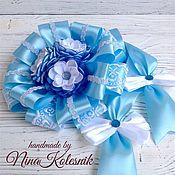 Работы для детей, ручной работы. Ярмарка Мастеров - ручная работа Бант голубой для новорожденного на выписку из роддома. Handmade.
