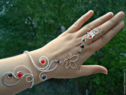 Браслеты ручной работы. Ярмарка Мастеров - ручная работа. Купить Слейв браслет Красное и черное (браслет посеребренный). Handmade.
