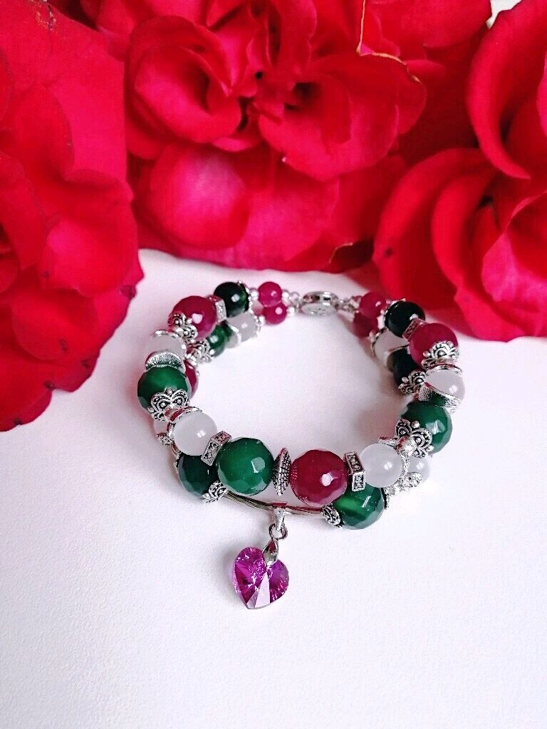 Bracelet 'Watermelon mood' of agate, tiger and cat eye, Bracelets, Tolyatti, Фото №1