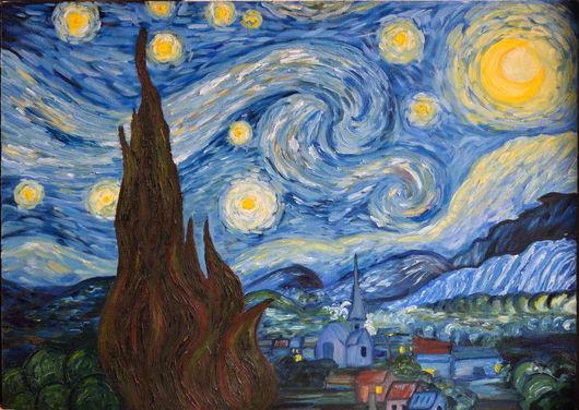 """Репродукции ручной работы. Ярмарка Мастеров - ручная работа. Купить Копия """"Звездной ночи"""" Ван Гога. Handmade. Синий"""