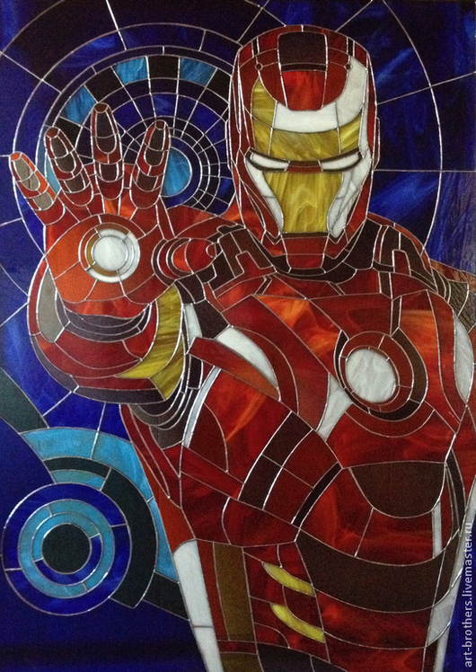 """Элементы интерьера ручной работы. Ярмарка Мастеров - ручная работа. Купить витражная картина """"Iron Man"""". Handmade. Витраж, подарок"""