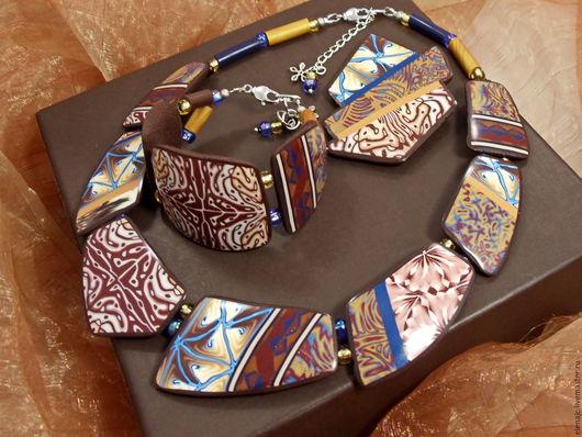 Комплекты украшений ручной работы. Ярмарка Мастеров - ручная работа. Купить Колье, браслет, брошь из полимерной глины - Пуэрто-Рико. Handmade.