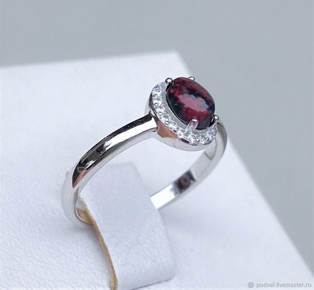 Ring with natural black opal 'Ugolek' (18), Rings, Korolev,  Фото №1