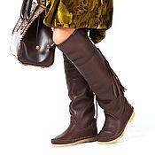 Обувь ручной работы handmade. Livemaster - original item HESSIAN brown / High winter boots genuine sheepskin fur. Handmade.