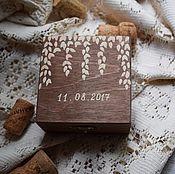 Свадебный салон ручной работы. Ярмарка Мастеров - ручная работа Golden leaves - свадебная шкатулка для обручальных колец. Handmade.