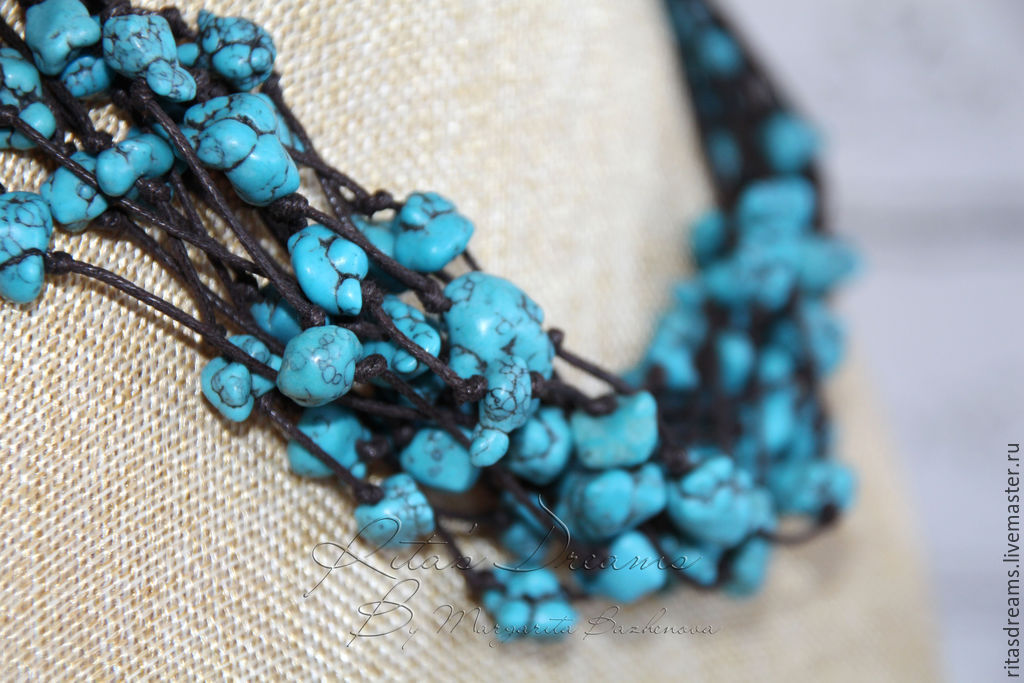 Contrasting combination of turquoise and dark brown gives these beads the warmth and brightness of the sea. Beads `Turquoise sea` perfectly fit both in casual and holiday wardrobe.