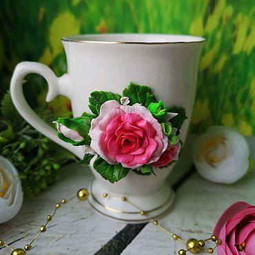 """Посуда ручной работы. Ярмарка Мастеров - ручная работа Кружка с декором """"Розы"""". Handmade."""