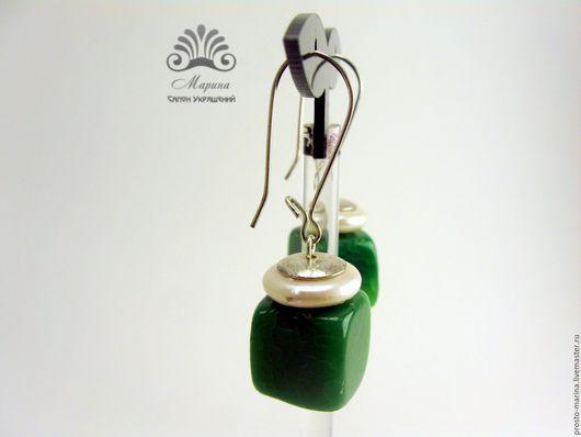 """Серьги ручной работы. Ярмарка Мастеров - ручная работа. Купить Серьги """"Эсмира"""". Handmade. Зеленые серьги, серьги с камнем"""