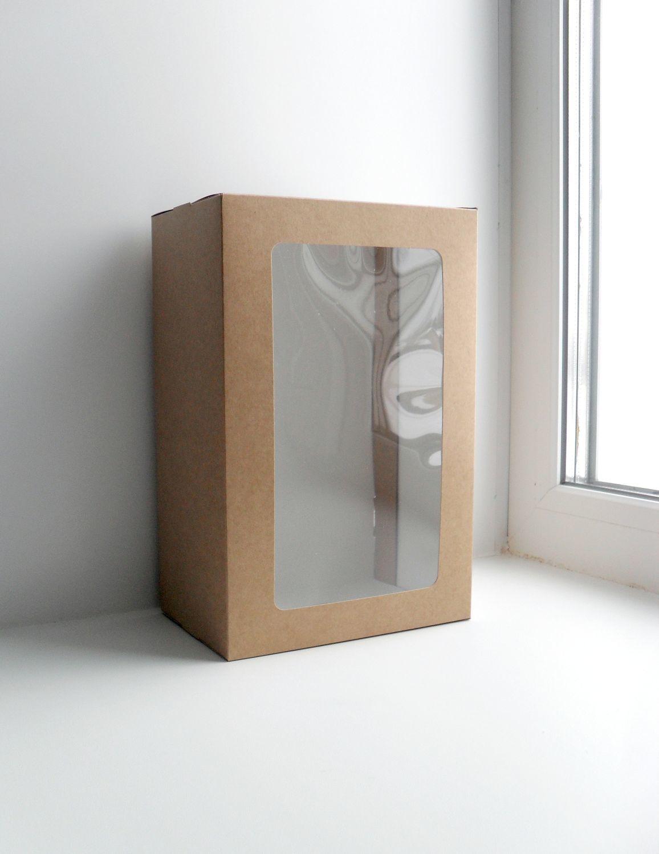 большая крафт картонная коробка коробочка из картона для куклы кукол игрушки игрушек с окном окошком с крышкой подарочная для упаковки подарков вещей сборная самосборная магазин упаковки купить коробк