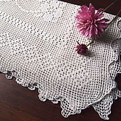 Винтаж handmade. Livemaster - original item Booking cover cushion, tea table cloth, mesh crochet, vintage. Handmade.