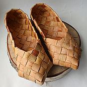 Русский стиль handmade. Livemaster - original item Sandals with a heel of bark