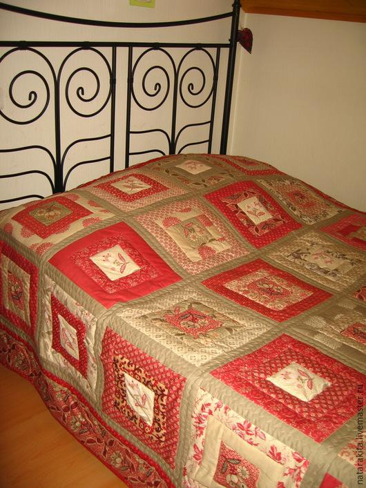 """Текстиль, ковры ручной работы. Ярмарка Мастеров - ручная работа. Купить Лоскутное покрывало """"Флорес"""". Handmade. Ярко-красный"""