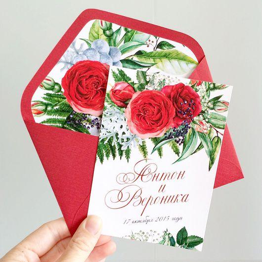 Свадебные аксессуары ручной работы. Ярмарка Мастеров - ручная работа. Купить Акварельные цветочные свадебные приглашения Красные розы. Handmade.
