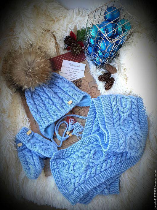 """Шапки и шарфы ручной работы. Ярмарка Мастеров - ручная работа. Купить Комплект зимний """"Light Blue"""" шапка, шарф, варежки. Handmade."""