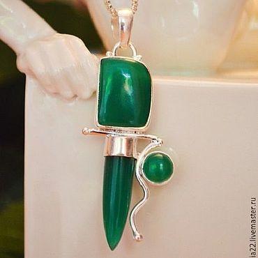 Decorations handmade. Livemaster - original item Pendant-talisman: Family happiness, Green chalcedony, silver. Handmade.