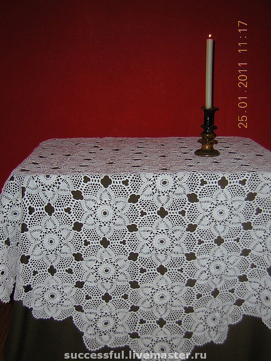Home Textiles & Carpets handmade. Livemaster - handmade. Buy White lace fishnet tight Tablecloth crochet.Country house