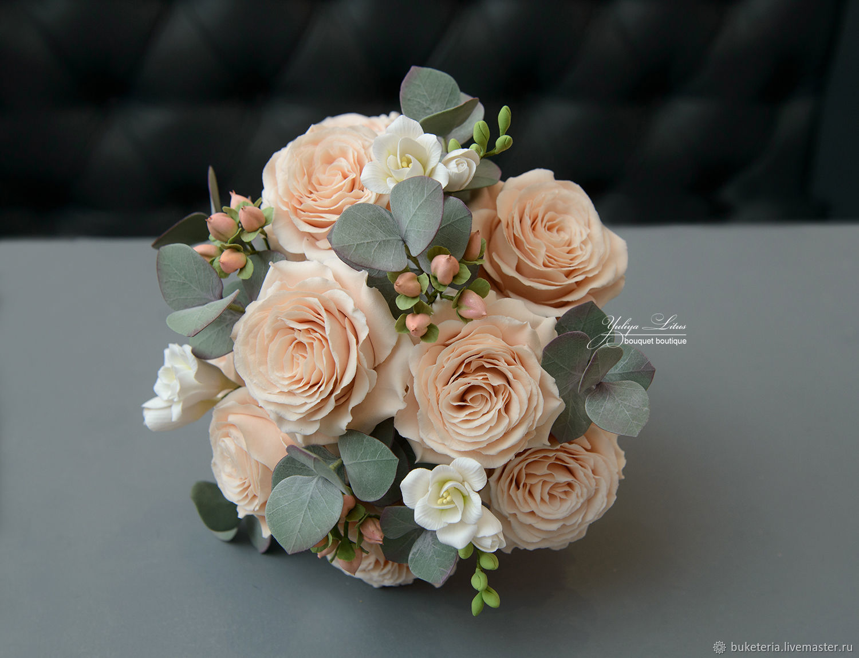 Букет невесты из полимерной глины, Свадебные цветы, Железнодорожный, Фото №1