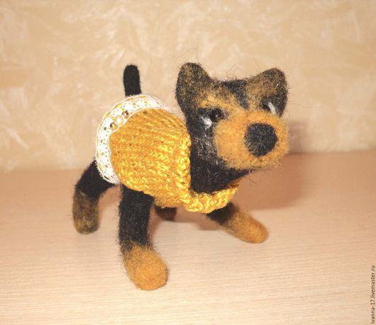 Валяный щенок йорка Йорк в платье Собака валяная