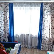 Шторы ручной работы. Ярмарка Мастеров - ручная работа Морские шторы с синим кантом для детской. Handmade.