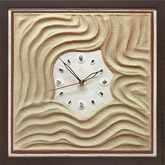 """Часы для дома ручной работы. Ярмарка Мастеров - ручная работа. Купить """"БАРХАНЫ"""" из песка авторские часы. Handmade. Бежевый"""