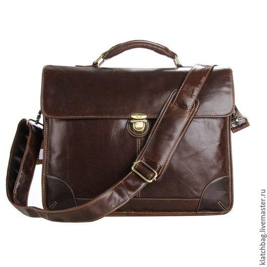 Мужские сумки ручной работы. Ярмарка Мастеров - ручная работа. Купить Коричневая сумка портфель натуральная кожа. Handmade. Коричневый