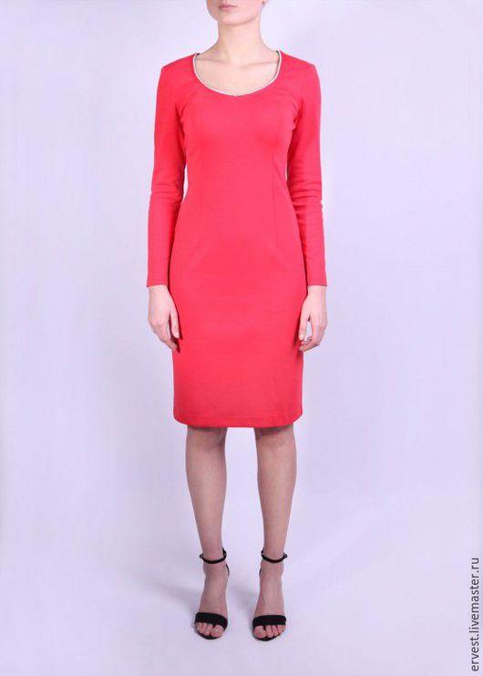 Платья ручной работы. Ярмарка Мастеров - ручная работа. Купить Розовое платье с молнией на всю спину!. Handmade. Коралловый, молния