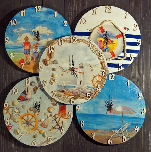 """Часы для дома ручной работы. Ярмарка Мастеров - ручная работа. Купить Часы """"Моря много не бывает..."""". Handmade. Комбинированный"""