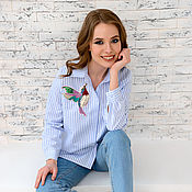 Одежда handmade. Livemaster - original item The blouse is striped with applique Hummingbird. Handmade.