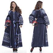 Одежда ручной работы. Ярмарка Мастеров - ручная работа Вышитое льняное длинное платье Украинская вышиванка Платье халат Кафт. Handmade.
