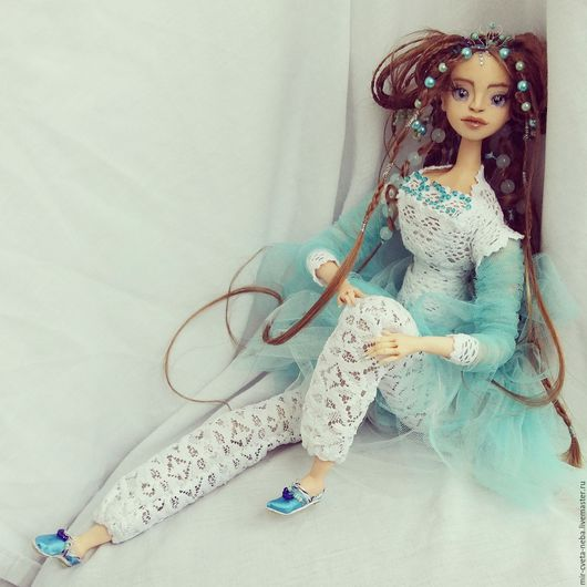 Коллекционные куклы ручной работы. Ярмарка Мастеров - ручная работа. Купить Незабудка. Handmade. Бирюзовый, авторская кукла, ткани