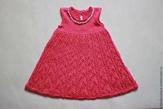 Одежда для девочек, ручной работы. Ярмарка Мастеров - ручная работа. Купить Ажурное платье спицами для девочки 6 — 12 месяцев. Handmade.