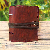 Канцелярские товары handmade. Livemaster - original item A6 leather notebook with band. Handmade.