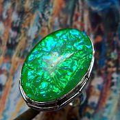 Украшения ручной работы. Ярмарка Мастеров - ручная работа Зеленое кольцо с аммолитом, серебро 925. Handmade.