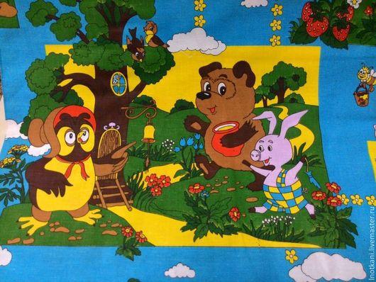 """Шитье ручной работы. Ярмарка Мастеров - ручная работа. Купить Ткань льняная с детским рисунком """"Винни-Пух"""". Handmade."""