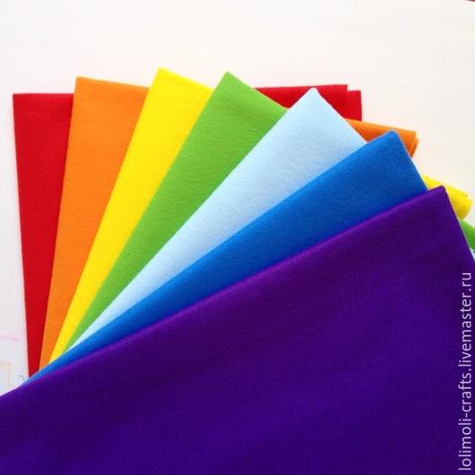 Валяние ручной работы. Ярмарка Мастеров - ручная работа. Купить РАДУГА (7 цветов) набор мягкого фетра. Handmade. Разноцветный