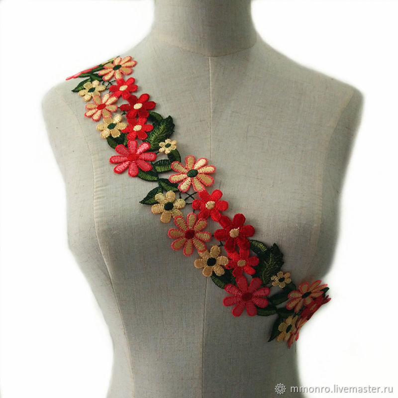 In stock! Embroidered lace, Columbine, braid, Podolsk,  Фото №1