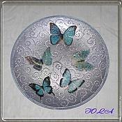 Посуда ручной работы. Ярмарка Мастеров - ручная работа Тарелка интерьерная Бабочки на снегу. Handmade.