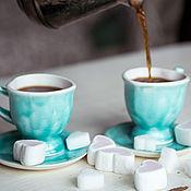 Посуда ручной работы. Ярмарка Мастеров - ручная работа Завтрак у Тиффани... Кофейная пара, керамика ручной работы. Handmade.