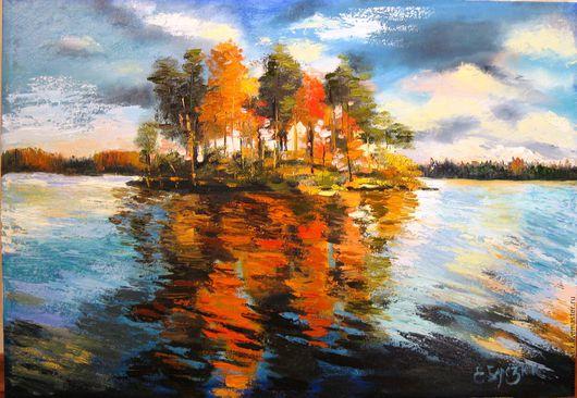 """Пейзаж ручной работы. Ярмарка Мастеров - ручная работа. Купить """"Онего. Осенние костры"""". Handmade. Рыжий, озеро, холст на подрамнике"""
