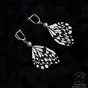 Украшения handmade. Livemaster - original item Butterfly earrings from the skin
