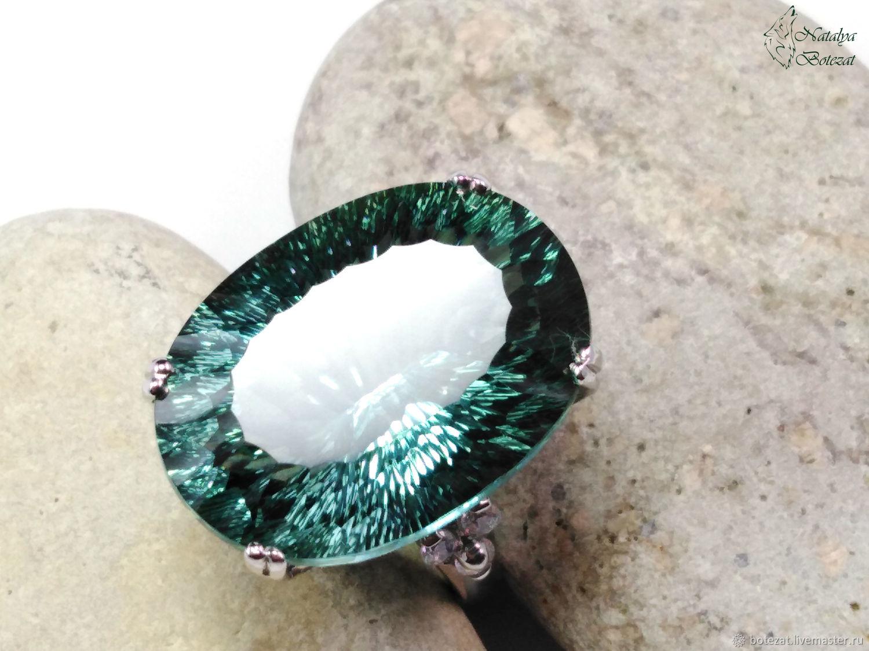 """Кольца ручной работы. Ярмарка Мастеров - ручная работа. Купить """"Forest"""" кольцо серебро с платиновым зеленым аметистом. Handmade."""
