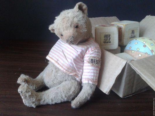 Мишки Тедди ручной работы. Ярмарка Мастеров - ручная работа. Купить Дружочек. Handmade. Серый, мишка в одежде, состаренный мишка